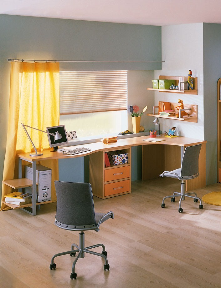 L shaped study table design design and ideas.